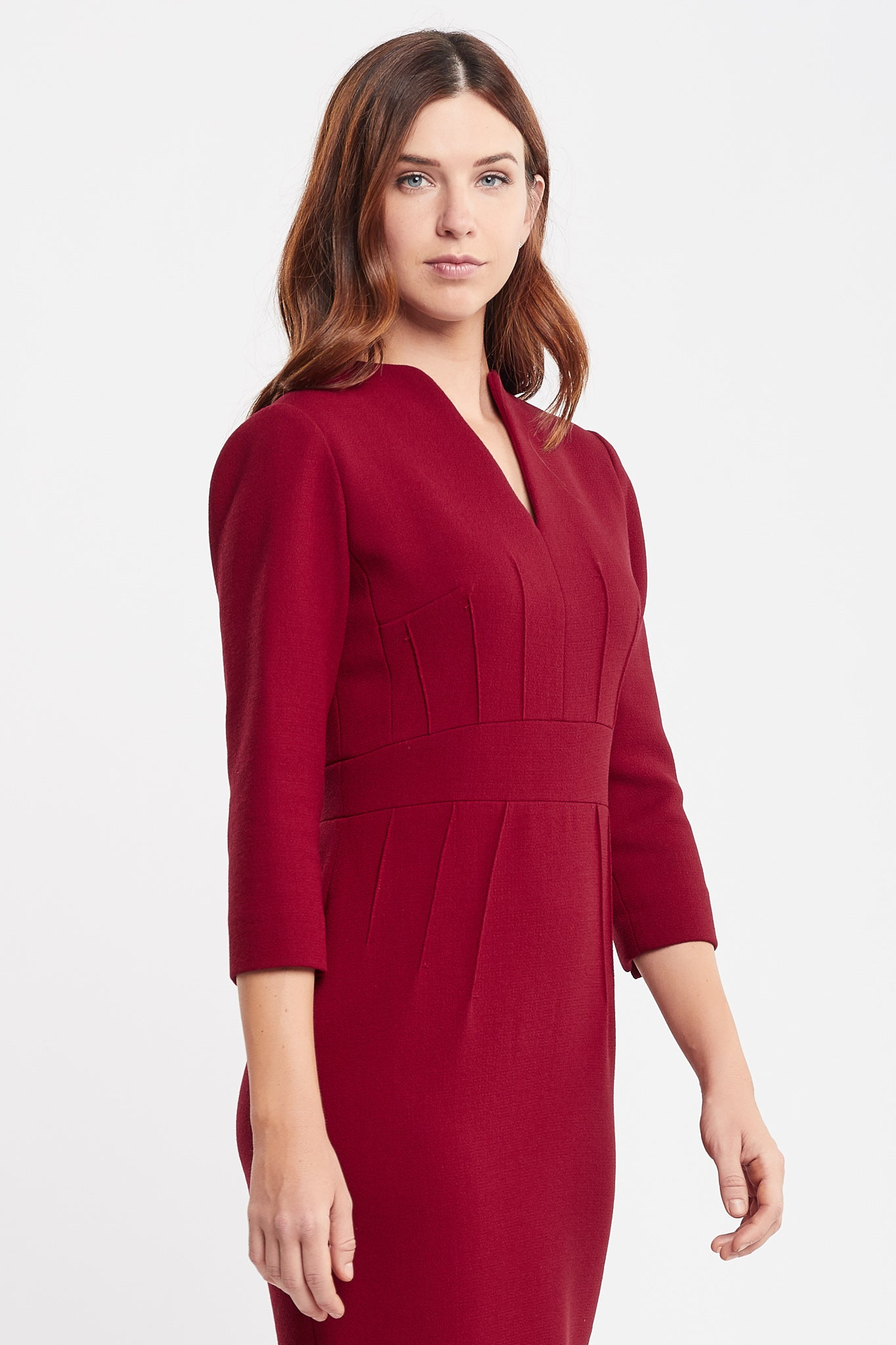 Dalila 3/4 Sleeves Sheath rust Work and Cocktail Dress