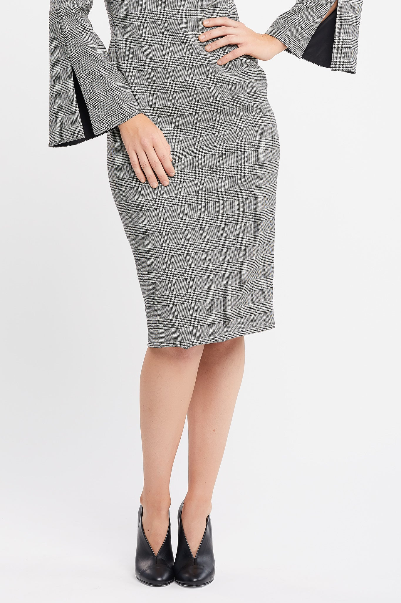 Dina Long Flared Sleeve Sheath Prince of Wales Work and Cocktail Dress