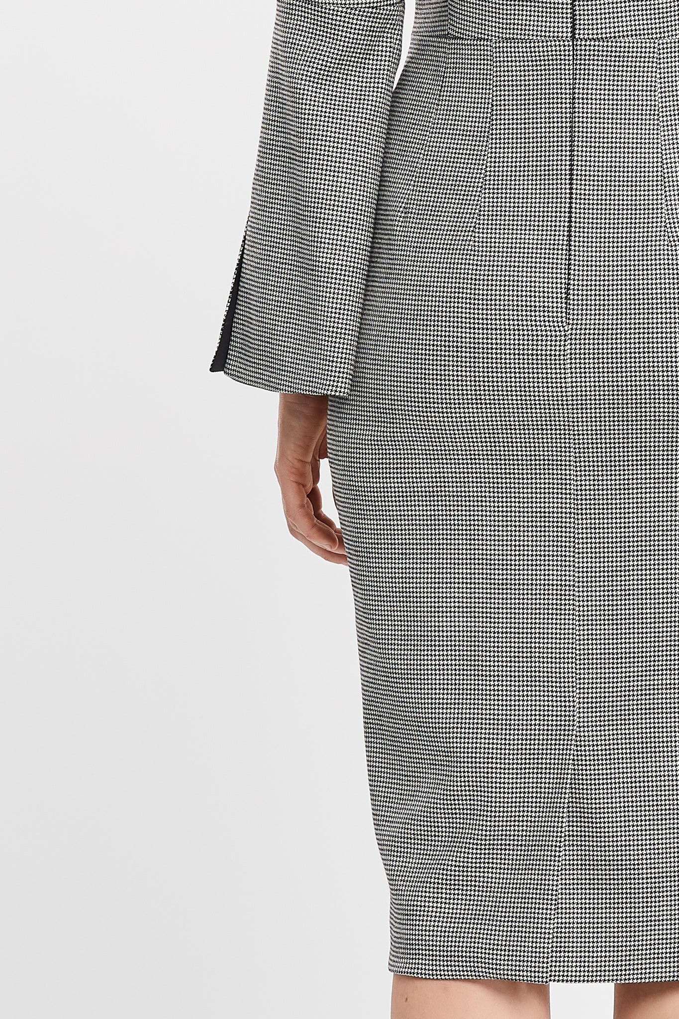 Dina Long Flared Sleeve Sheath Houdstooth Work and Cocktail Dress