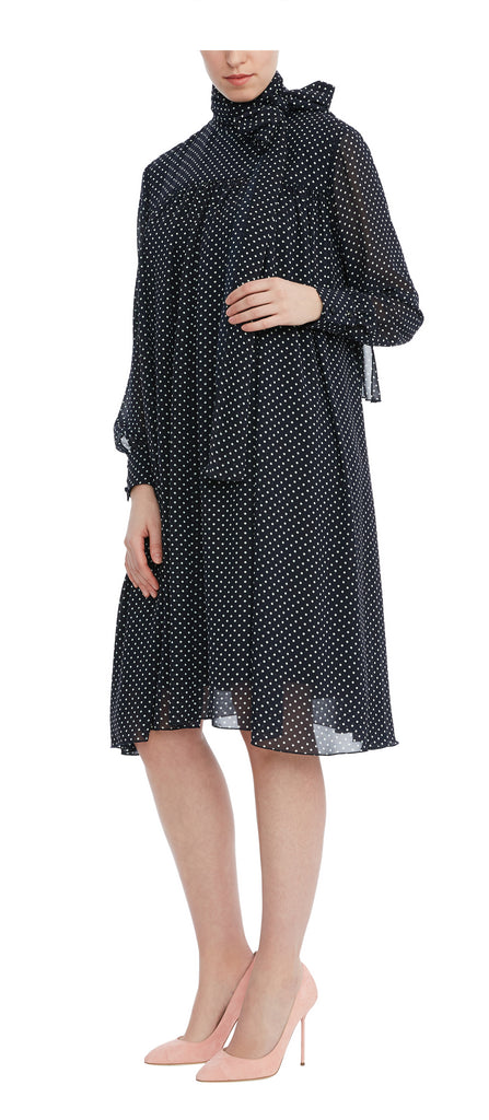 editions de robes SS17 collection cocktail Joline navy and white dot dress