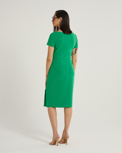 Emmeline short sleeve square neck dress with attached belt