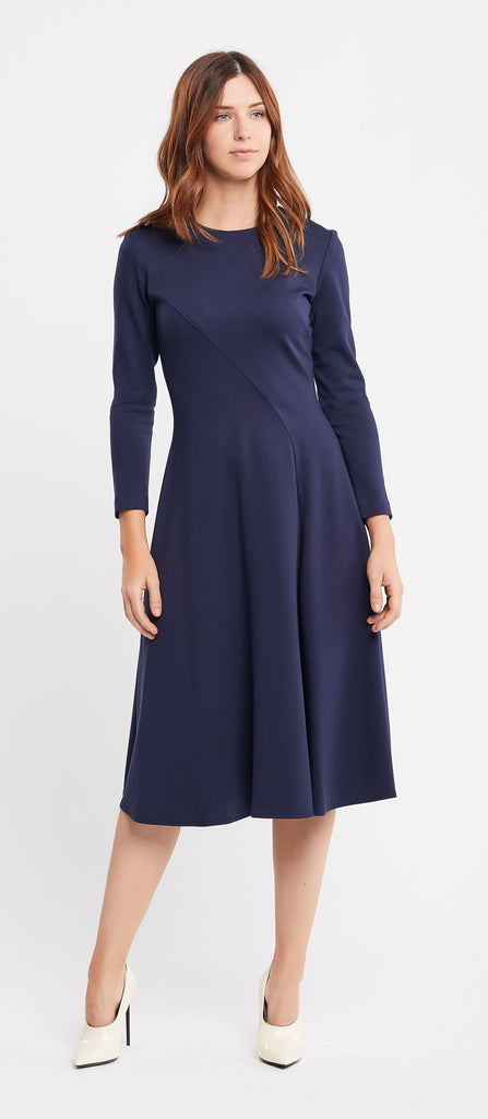 Faffa Long Sleeve Flared Skirt Navy Work Dress