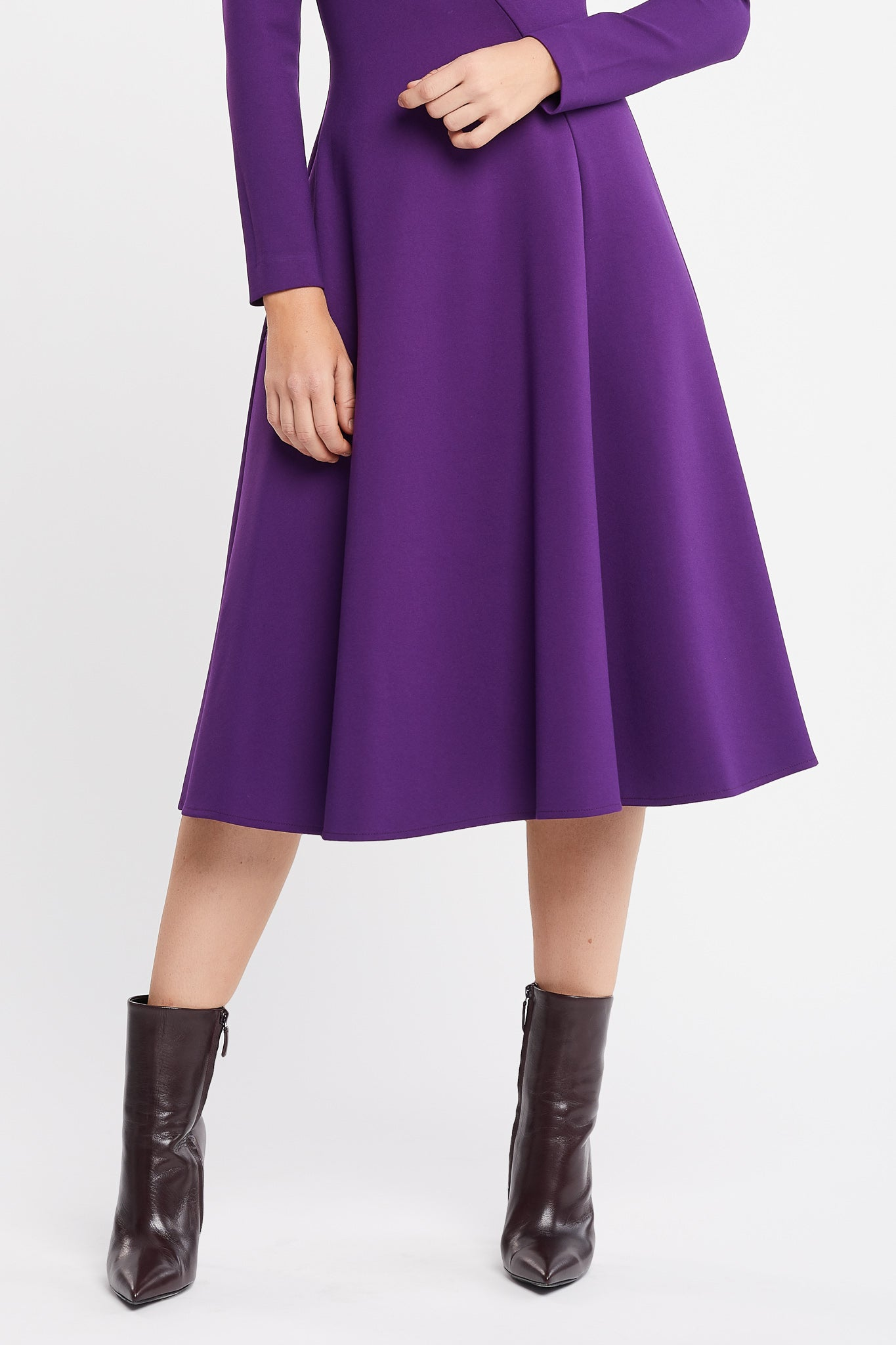 Faffa Long Sleeve Flared Purple Grey Work Dress