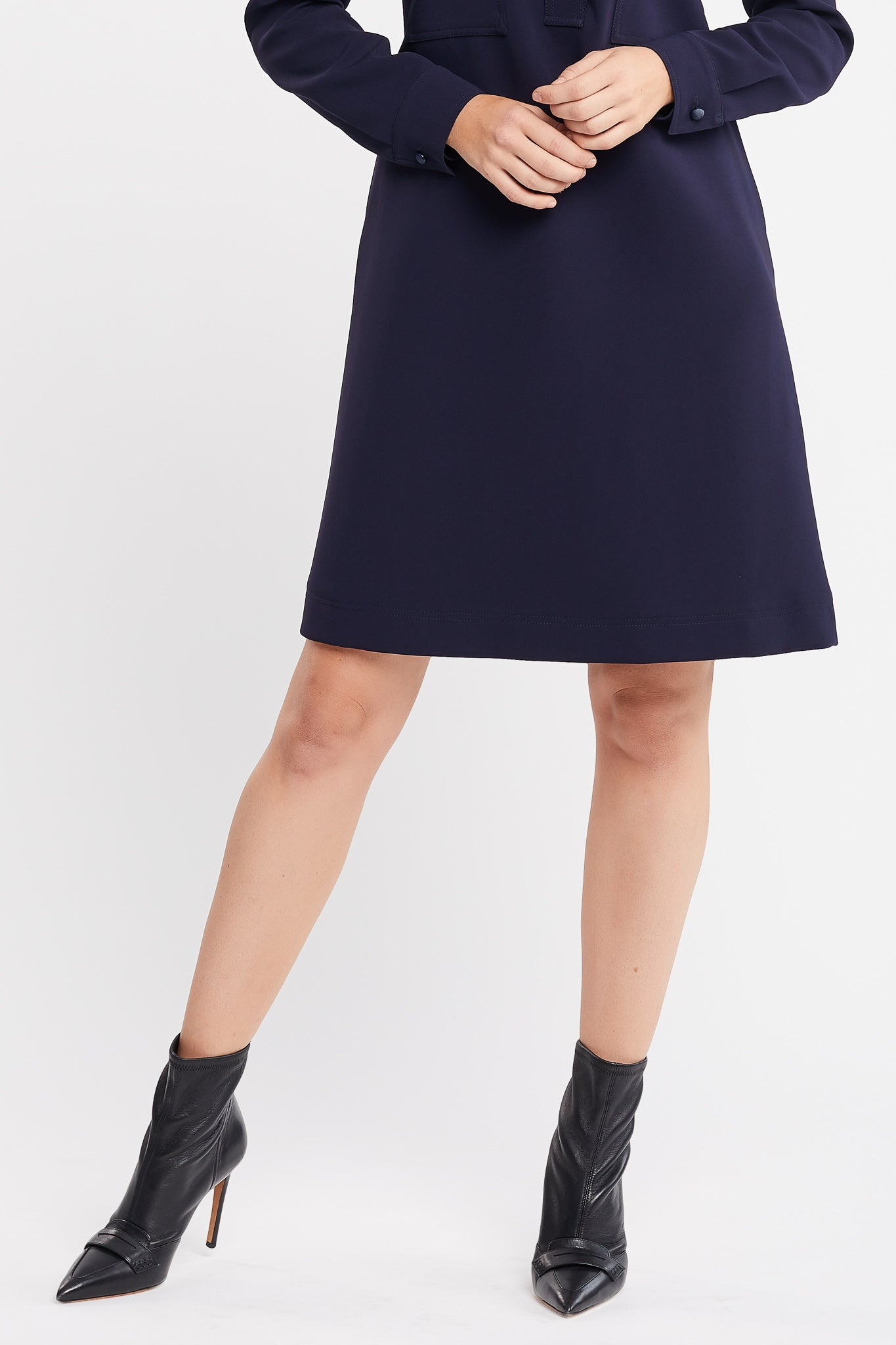 Imari Long Sleeve a-line Navy Work Dress