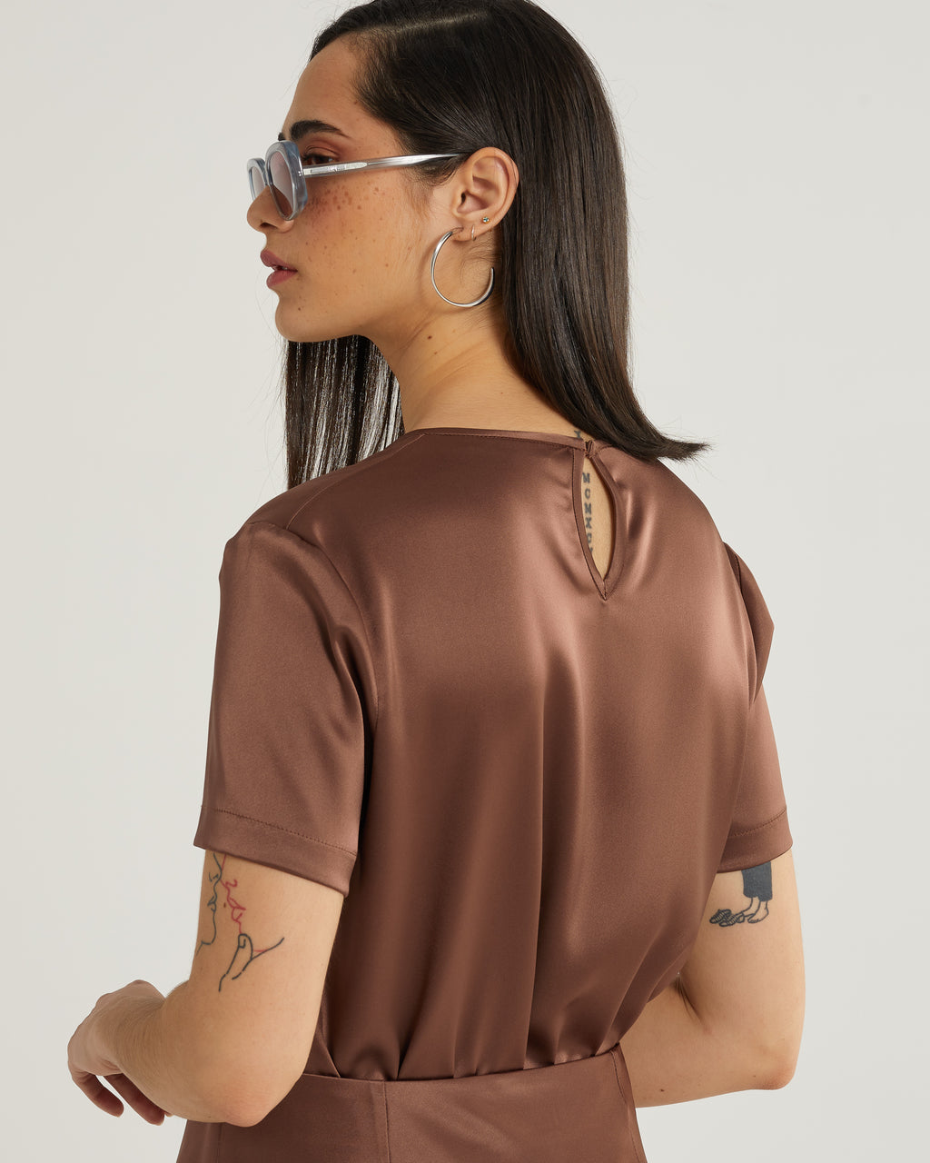 Trudy short sleeve satin top