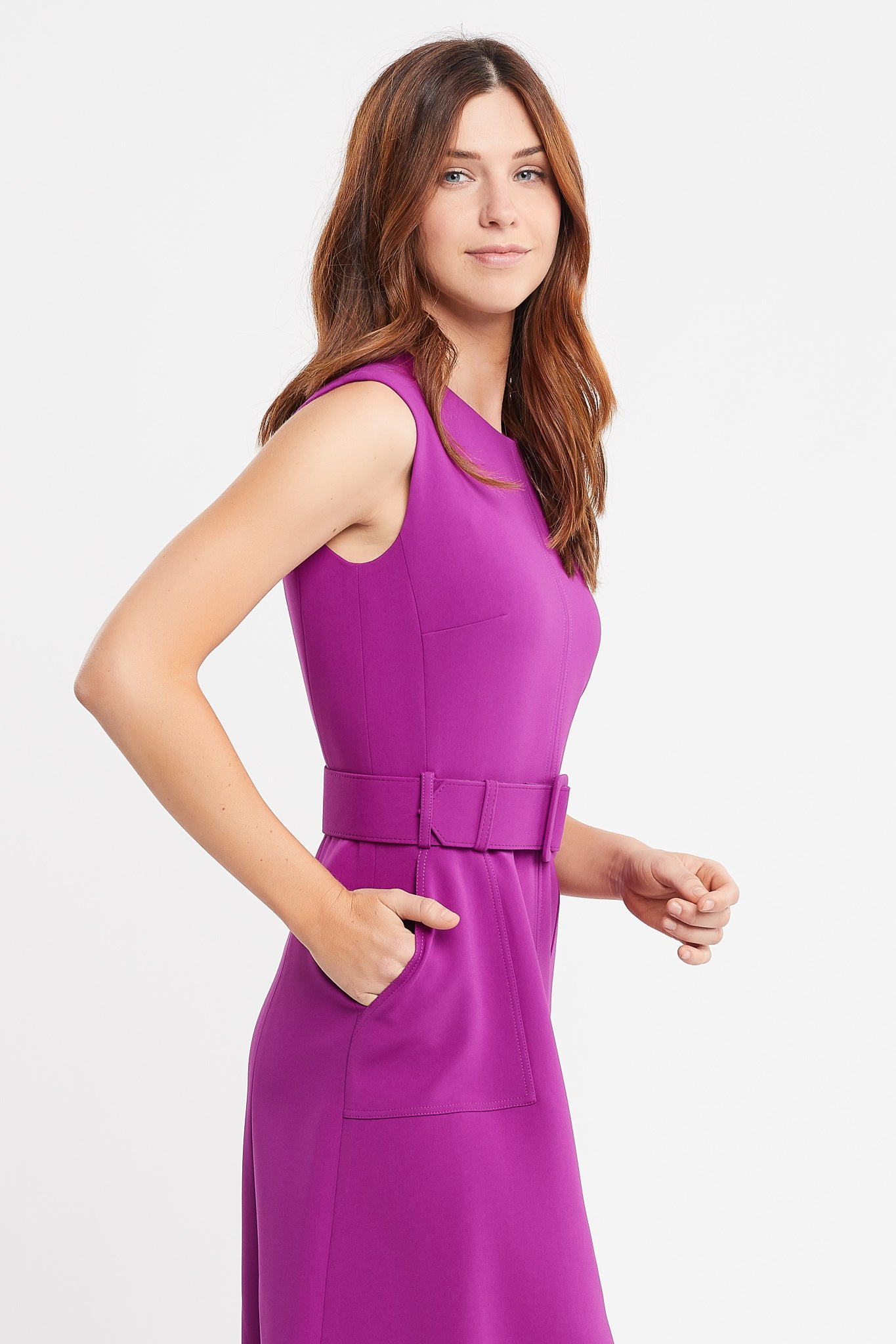 Jordanne Sleeveless A-line Magenta Work and Cocktail Dress