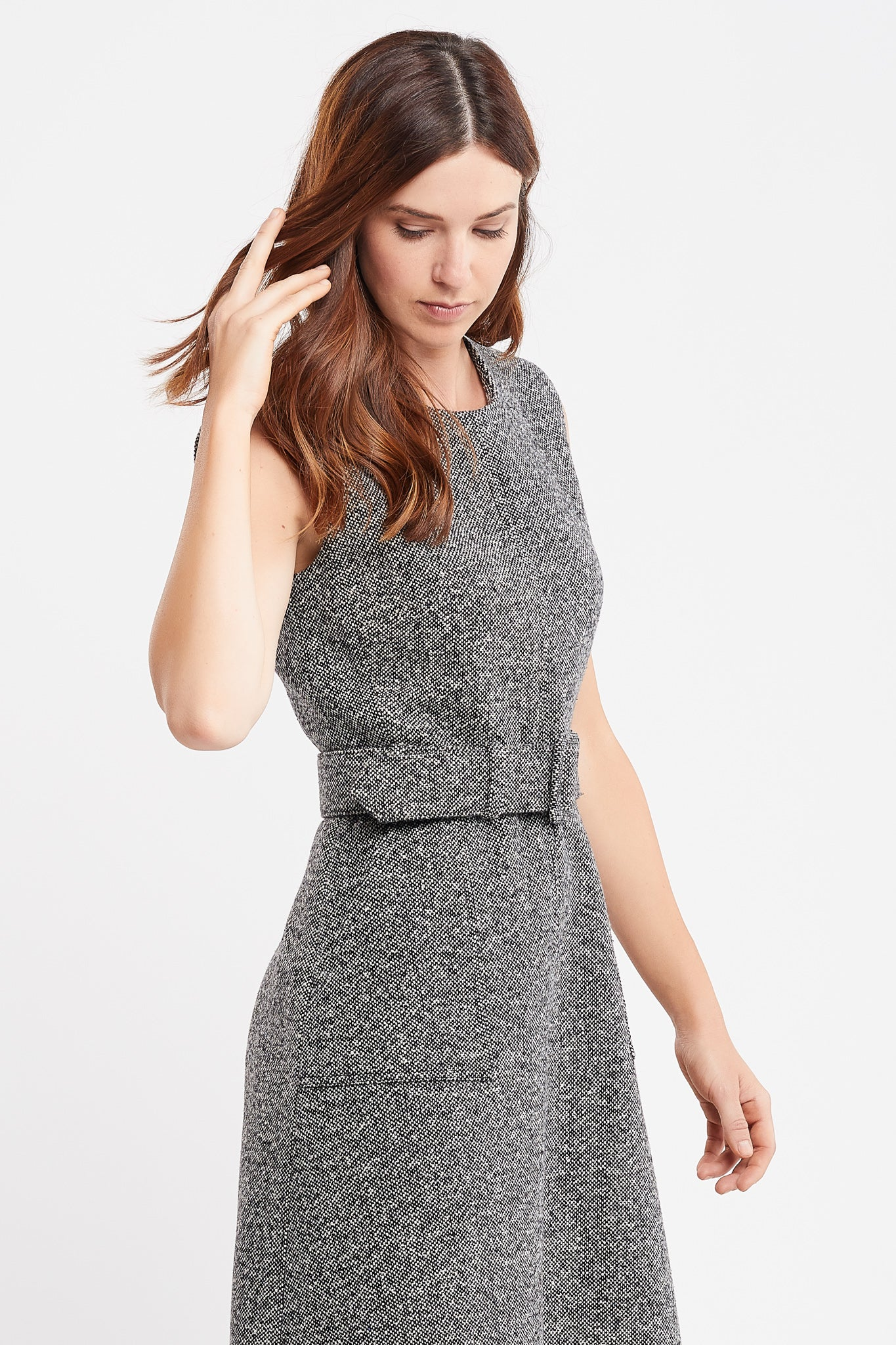 Jordanne Sleeveless A-line Black Tweed Work Dress