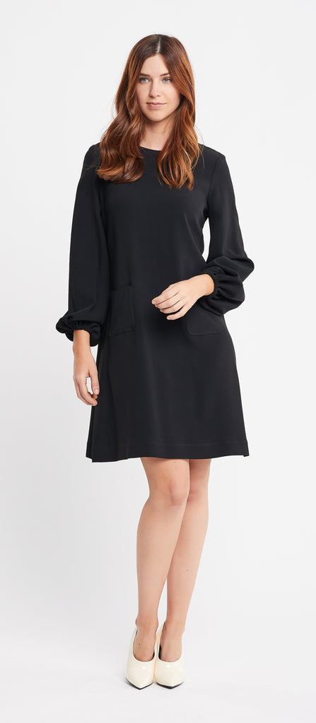 Karima Long Sleeve A-line Black Work and Cocktail Dress