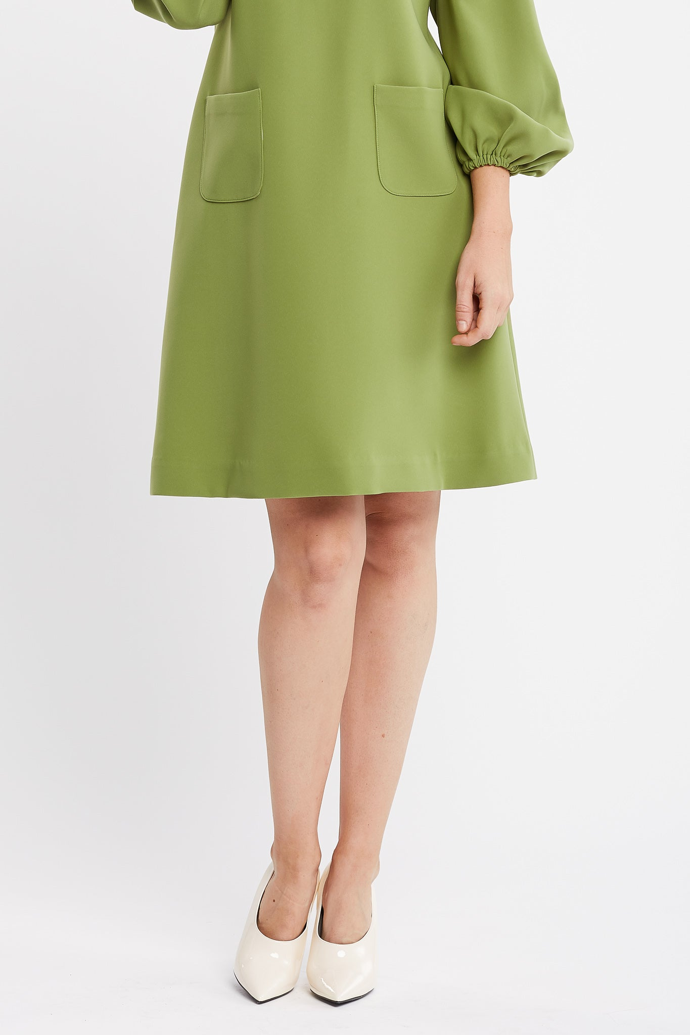 Karima Long Sleeve A-line Green Work and Cocktail Dress