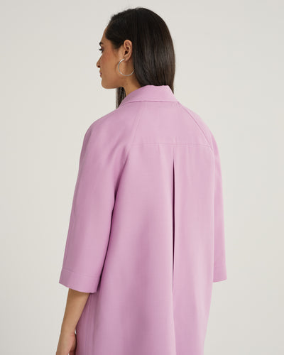 Laurent Shift Oversized Square Coat with Pockets