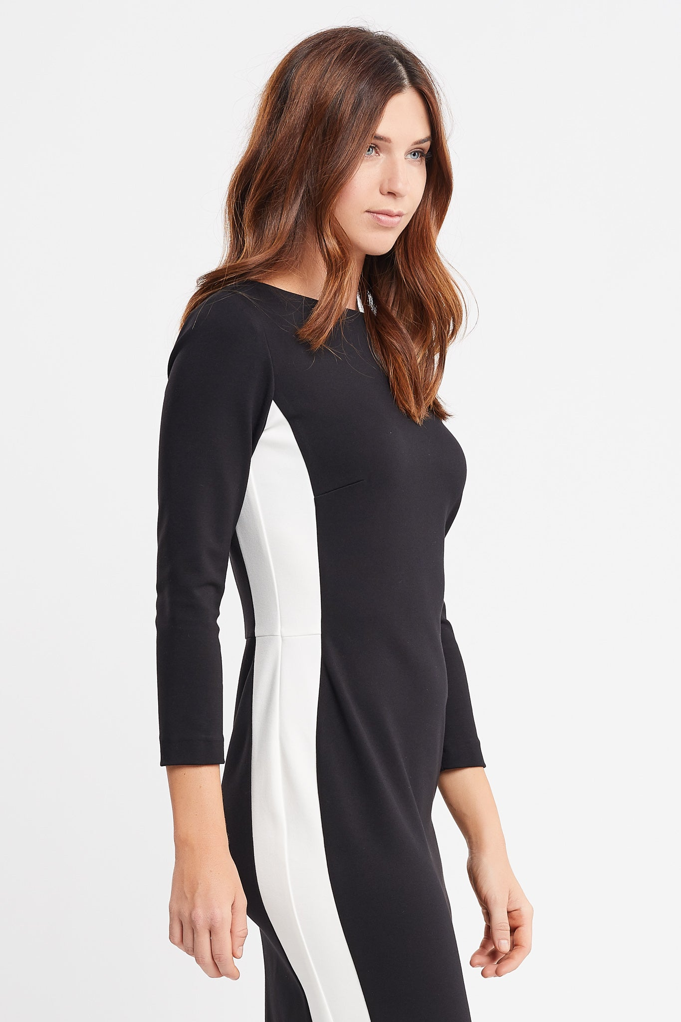 Marcella 3/4 Sleeve Sheath Black and White Work Dress