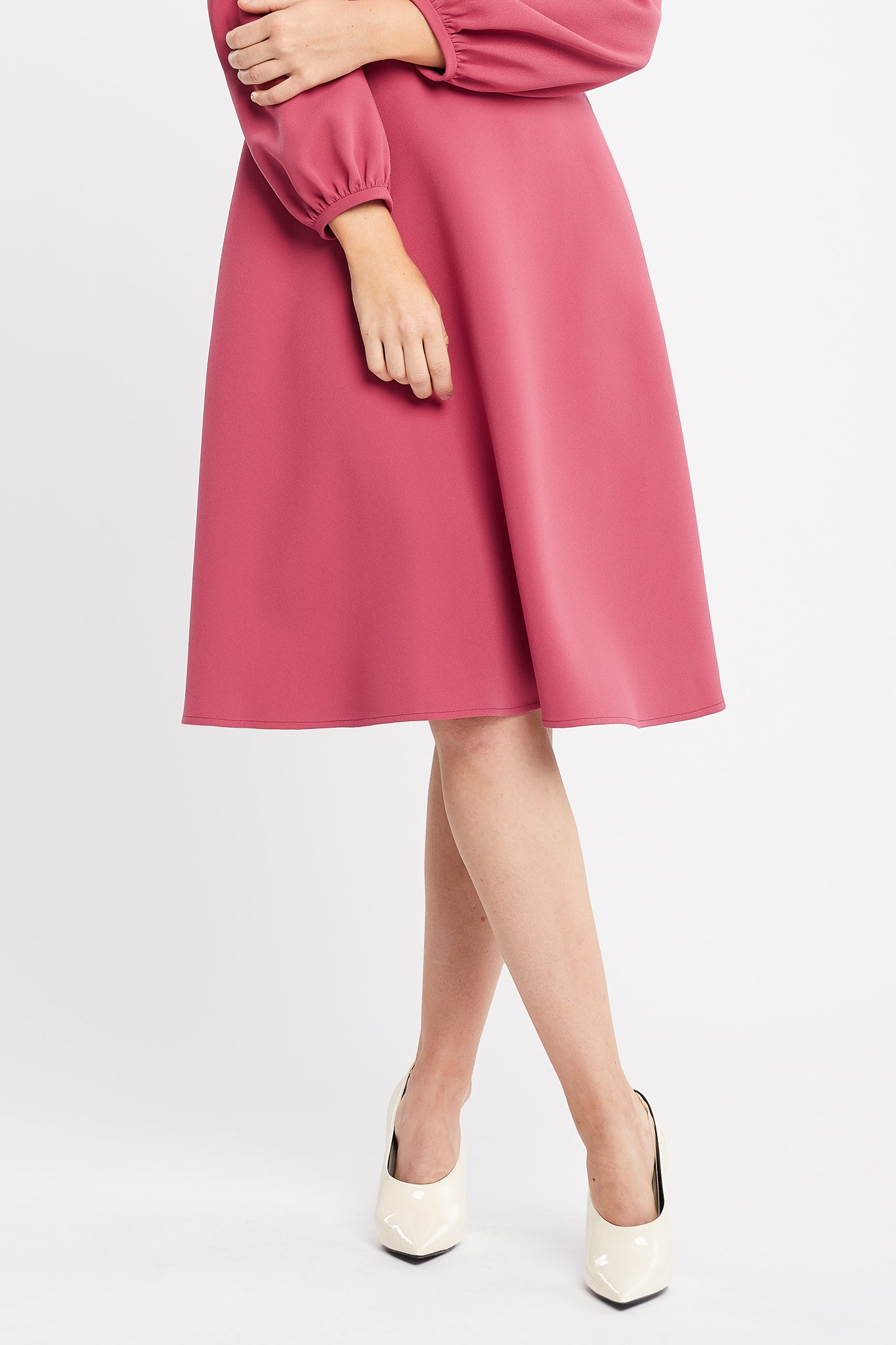 Mia Long Sleeve Flared Skirt Pink Work and Cocktail Dress