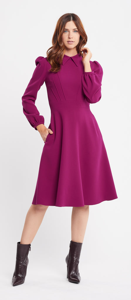 Mia Long Sleeve Flared Skirt Raspberry Work and Cocktail Dress