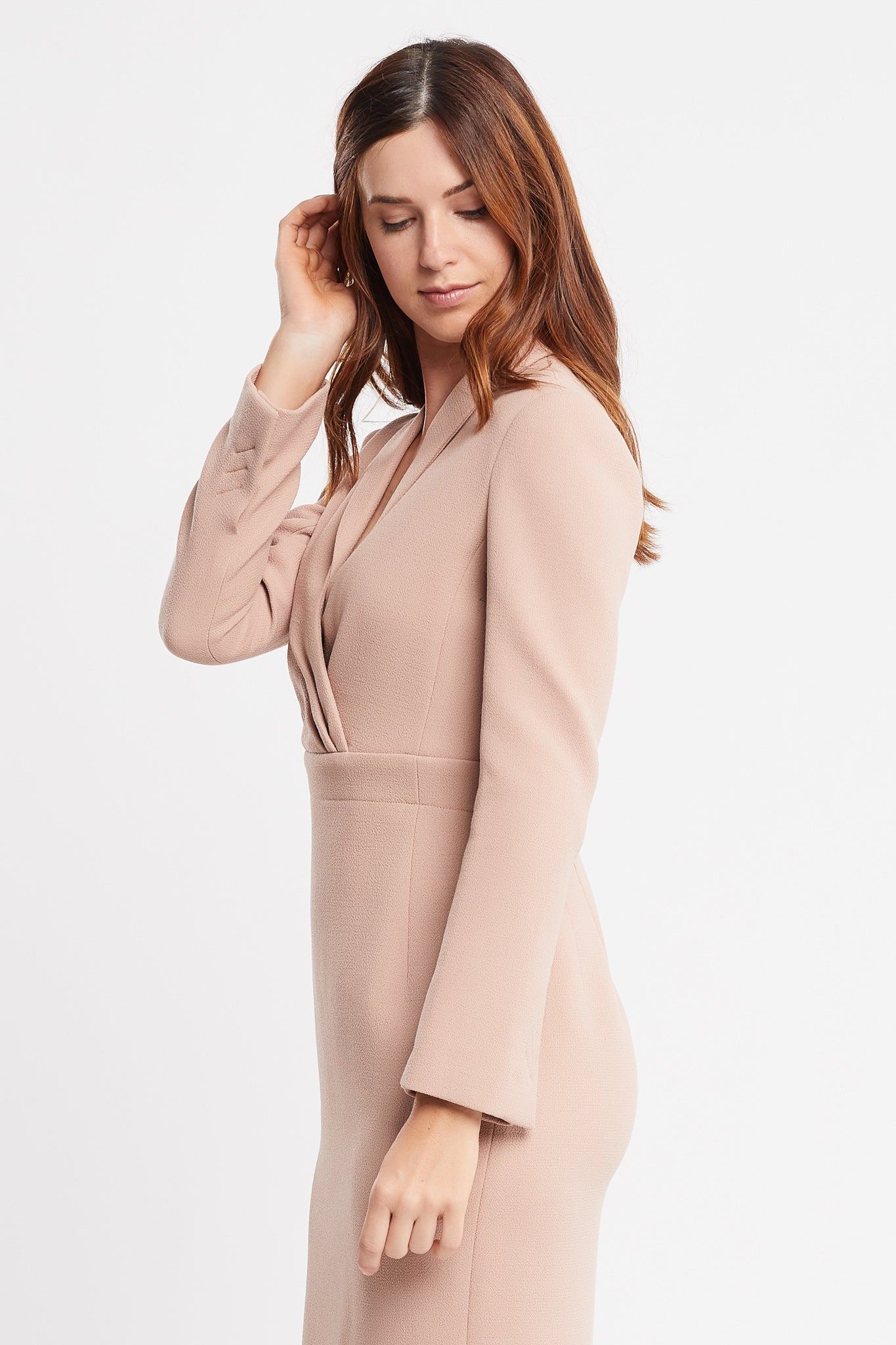 Sandra Long Sleeve Sheath Beige Work and Cocktail Dress