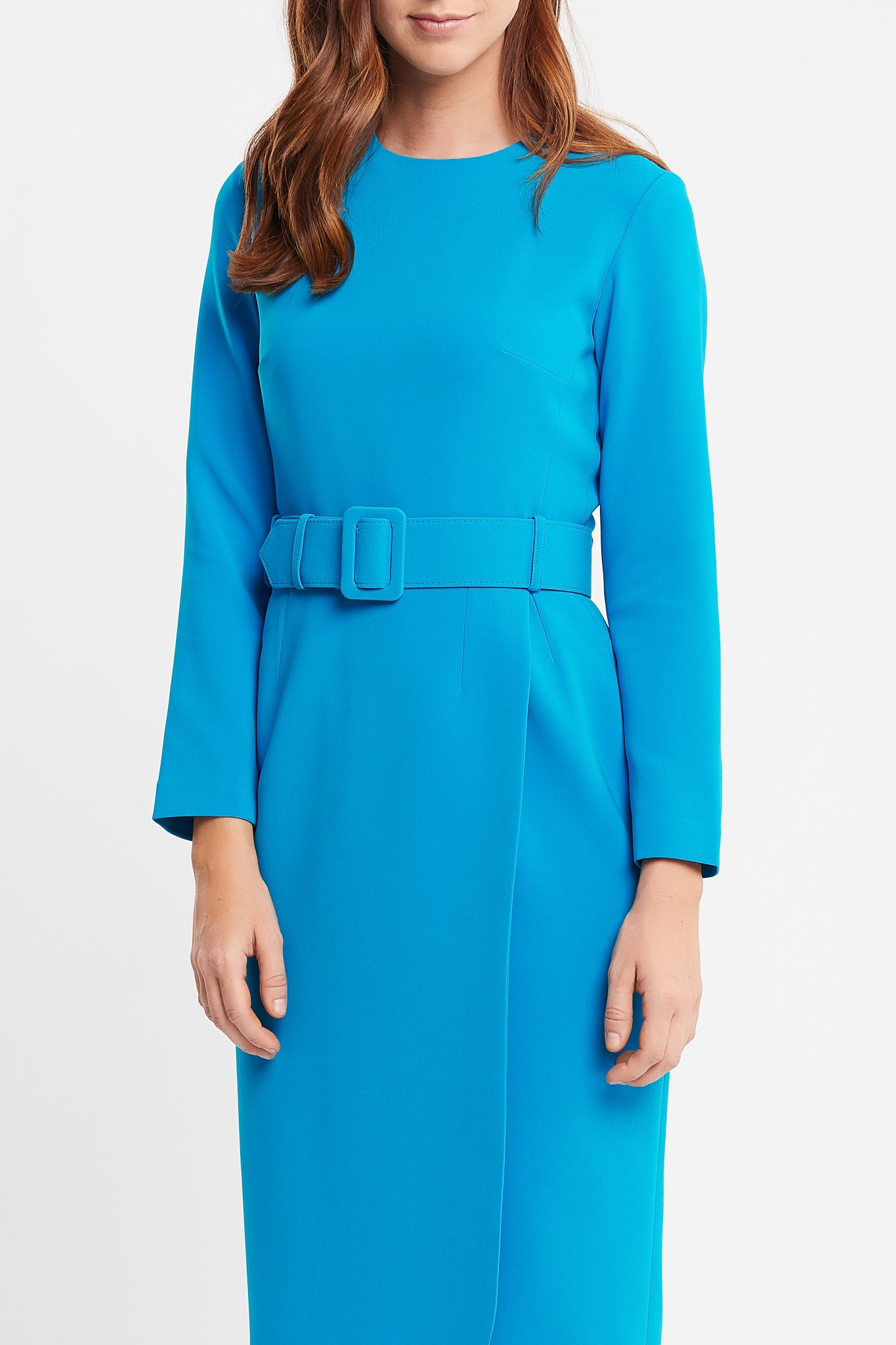 Selena Long Sleeve Sheath Turquoise Work Dress