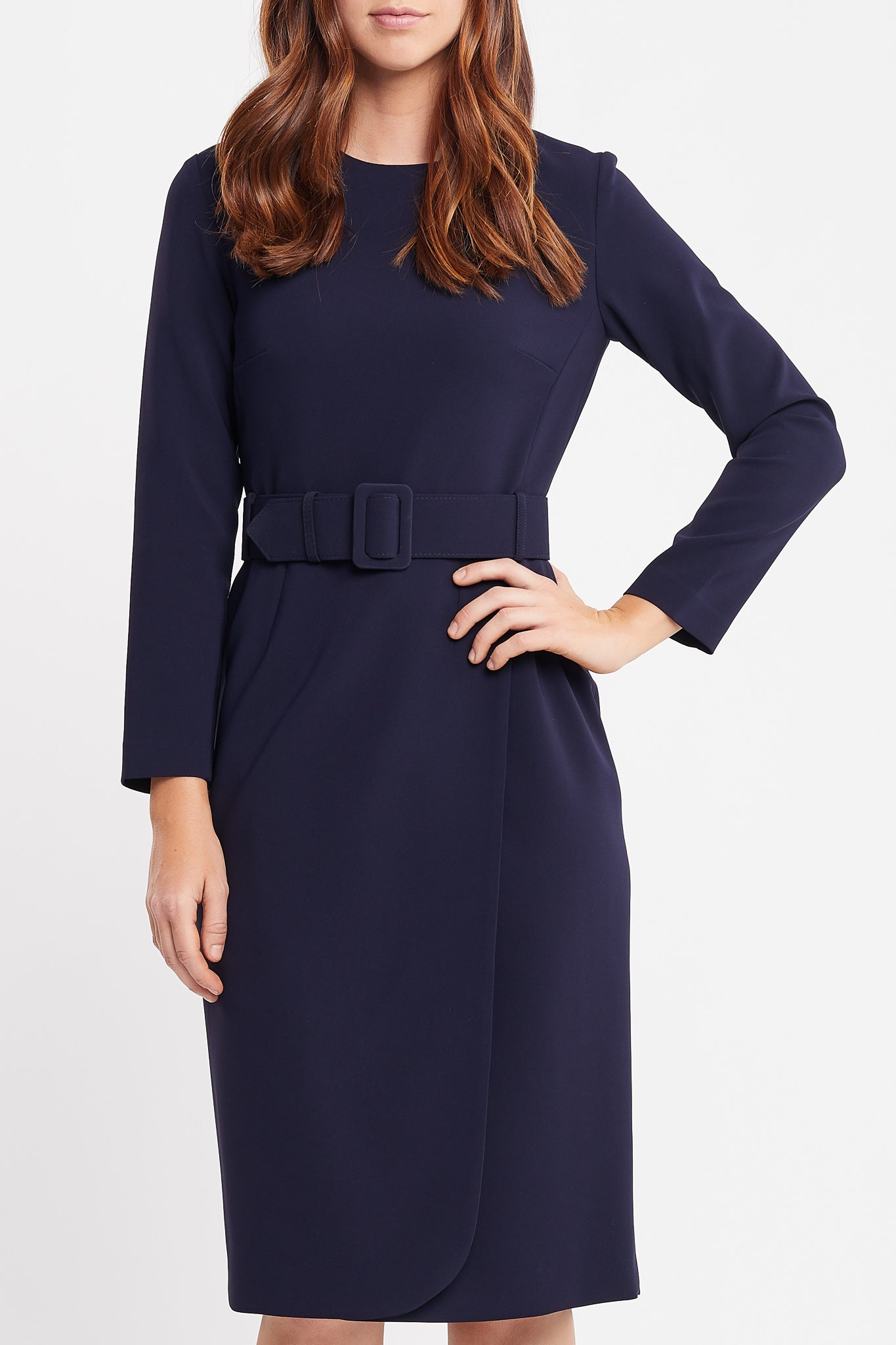 Selena Long Sleeve Sheath Navy Work Dress