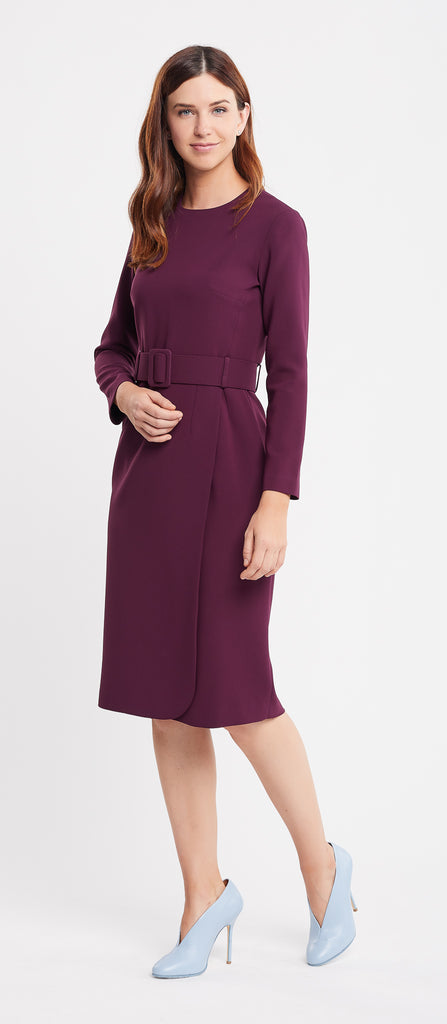 Selena Long Sleeve Sheath Burgundy Work Dress