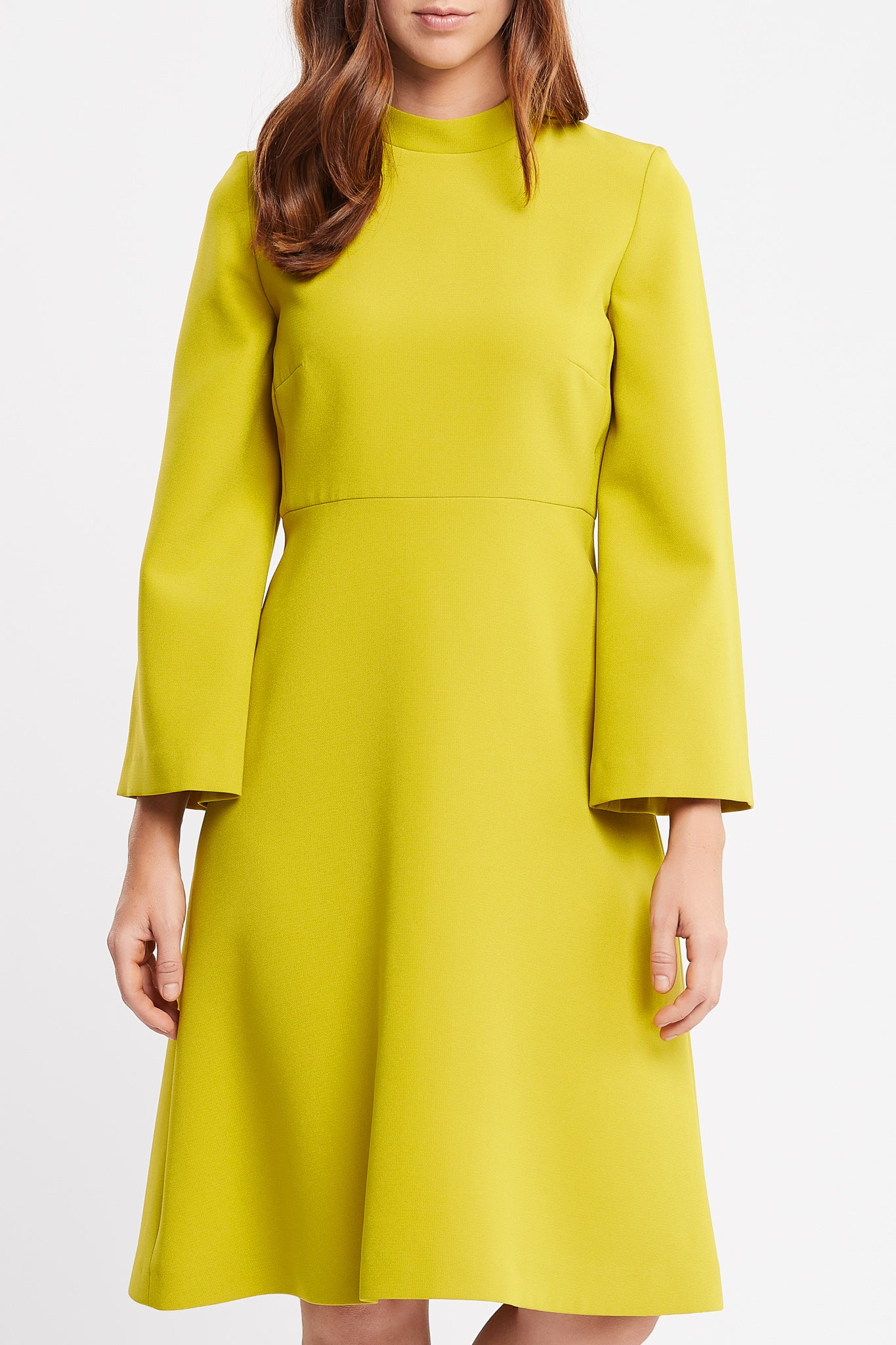 Vamilla Long Sleeve Flared Skirt Yellow Work and Cocktail Dress