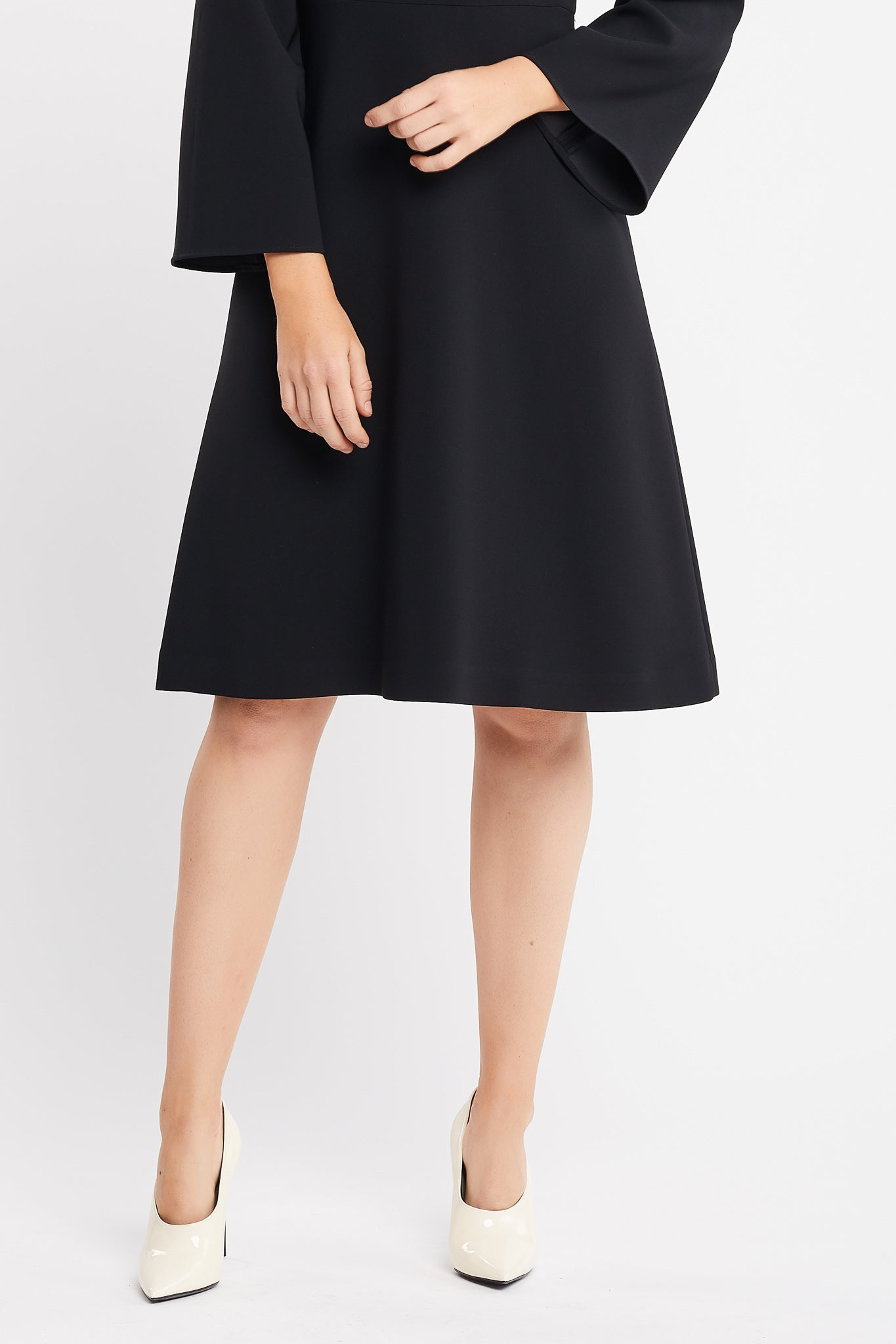 Vamilla Long Sleeve Flared Skirt Black Work and Cocktail Dress