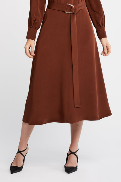 Ana Long Sleeve Flared Skirt Brown Work and Cocktail Dress