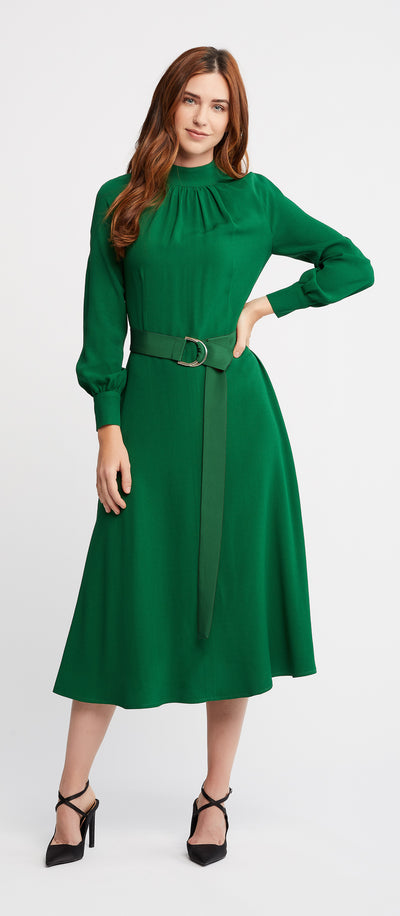 Ana Long Sleeve Flared Skirt Green Work and Cocktail Dress