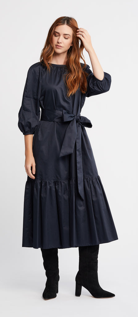 Berenice 3/4 sleeves Shift Day Dress with Belt in Navy