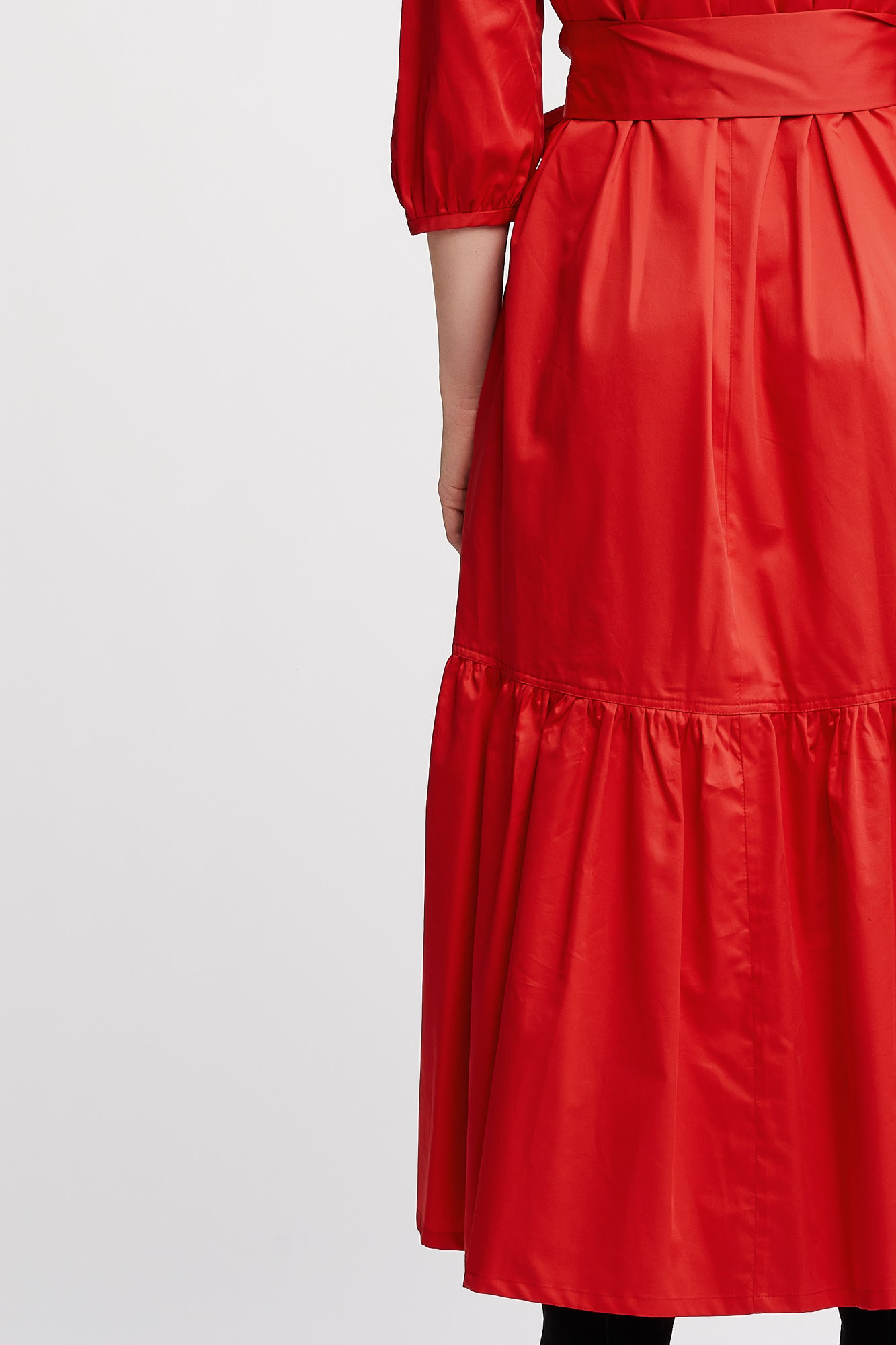 Berenice 3/4 sleeves Shift Day Dress with Belt in Red