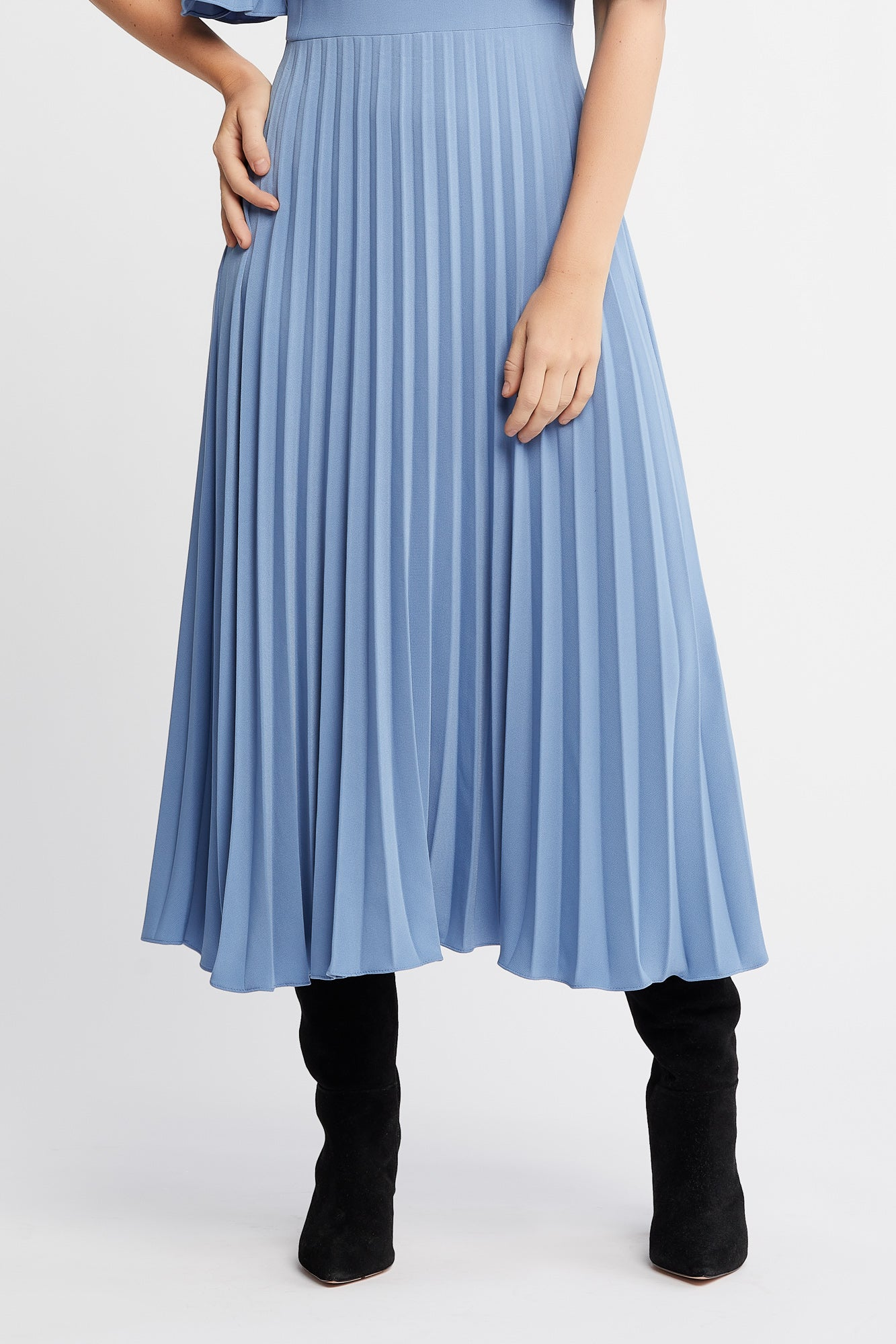 Cannelle Dress in Blue with Flared Pleated Sleeves and Skirt