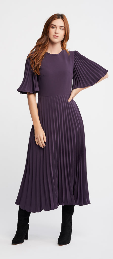 Cannelle Dress in Eggplant with Flared Pleated Sleeves and Skirt