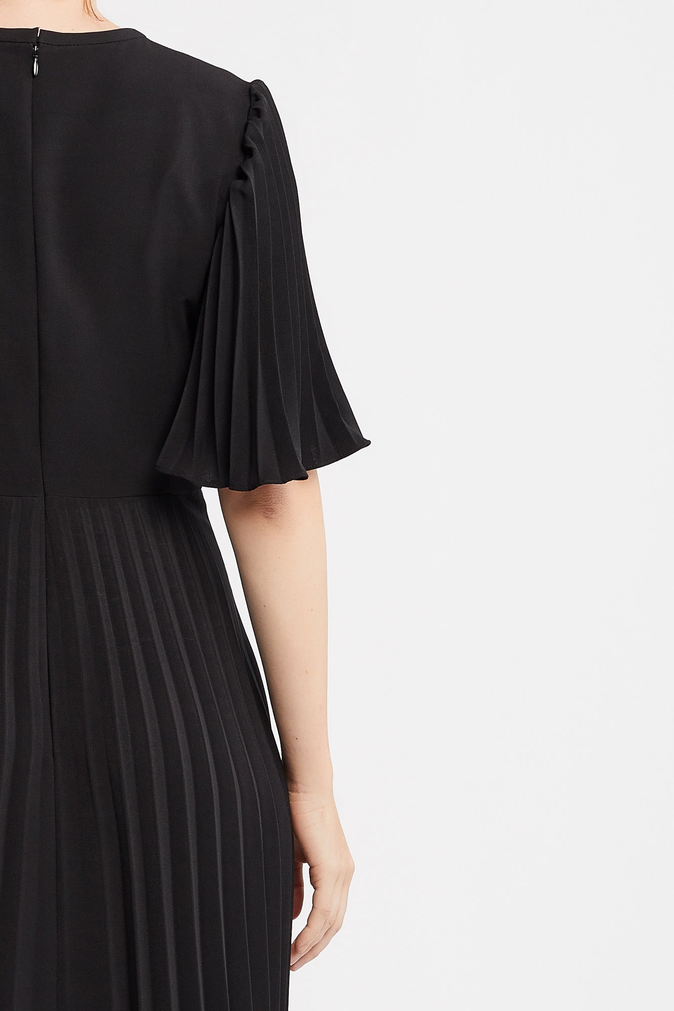 Cannelle Dress in Black with Flared Pleated Sleeves and Skirt