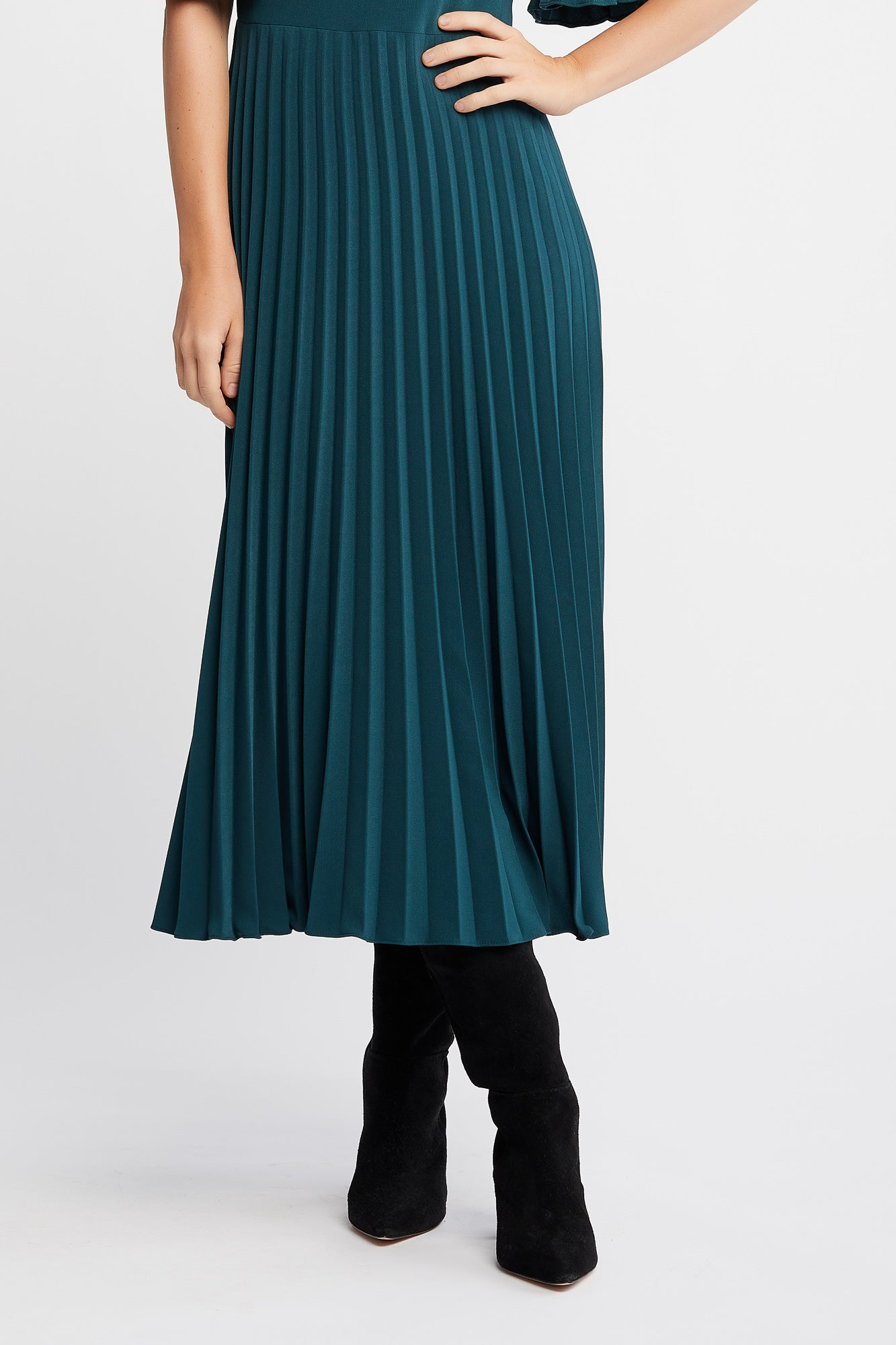 Cannelle Dress in Emerald Green with Flared Pleated Sleeves and Skirt