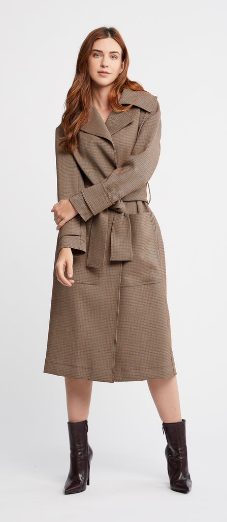 Claude Long Sleeve Prince of Wale Oversized Trench Style Coat