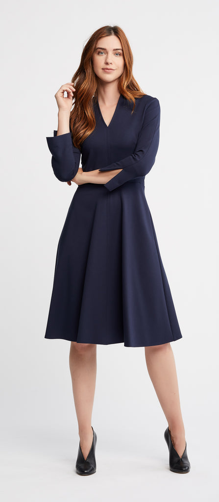 Etta 3/4 Sleeves Flared Skirt Navy Work Dress