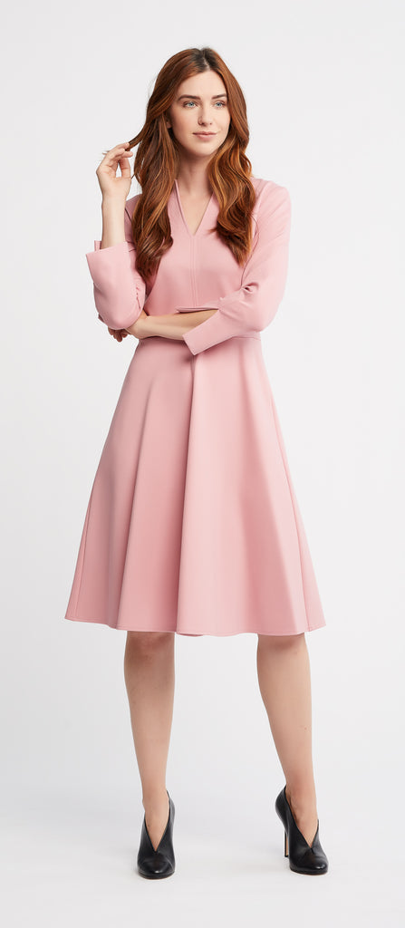 Etta 3/4 Sleeves Flared Skirt Pink Work Dress