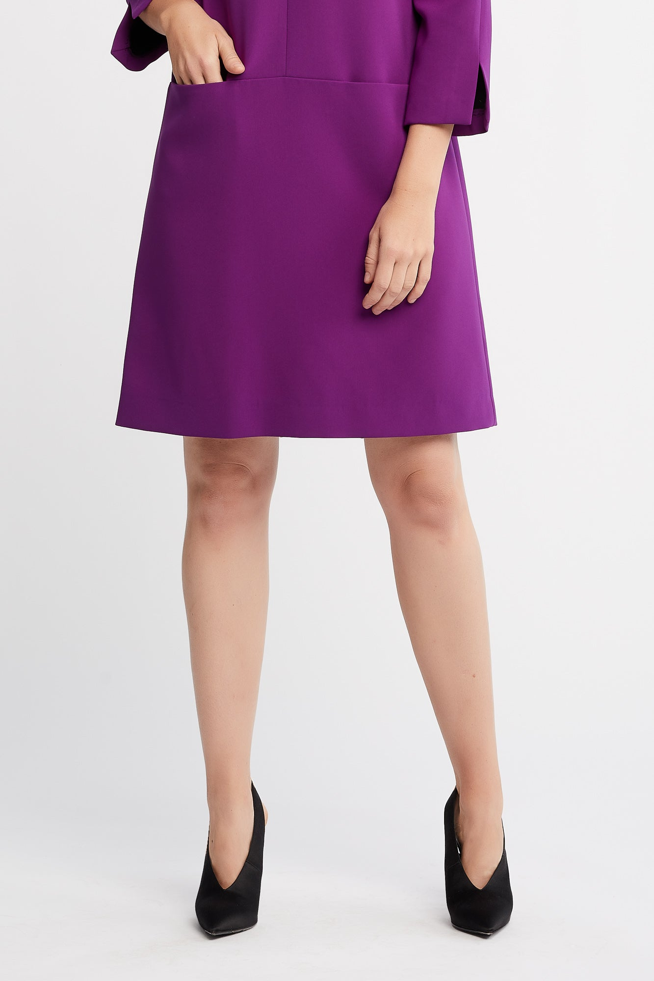 Janice 3/4 Sleeve Shift Purple Work Dress and Cocktail Dress
