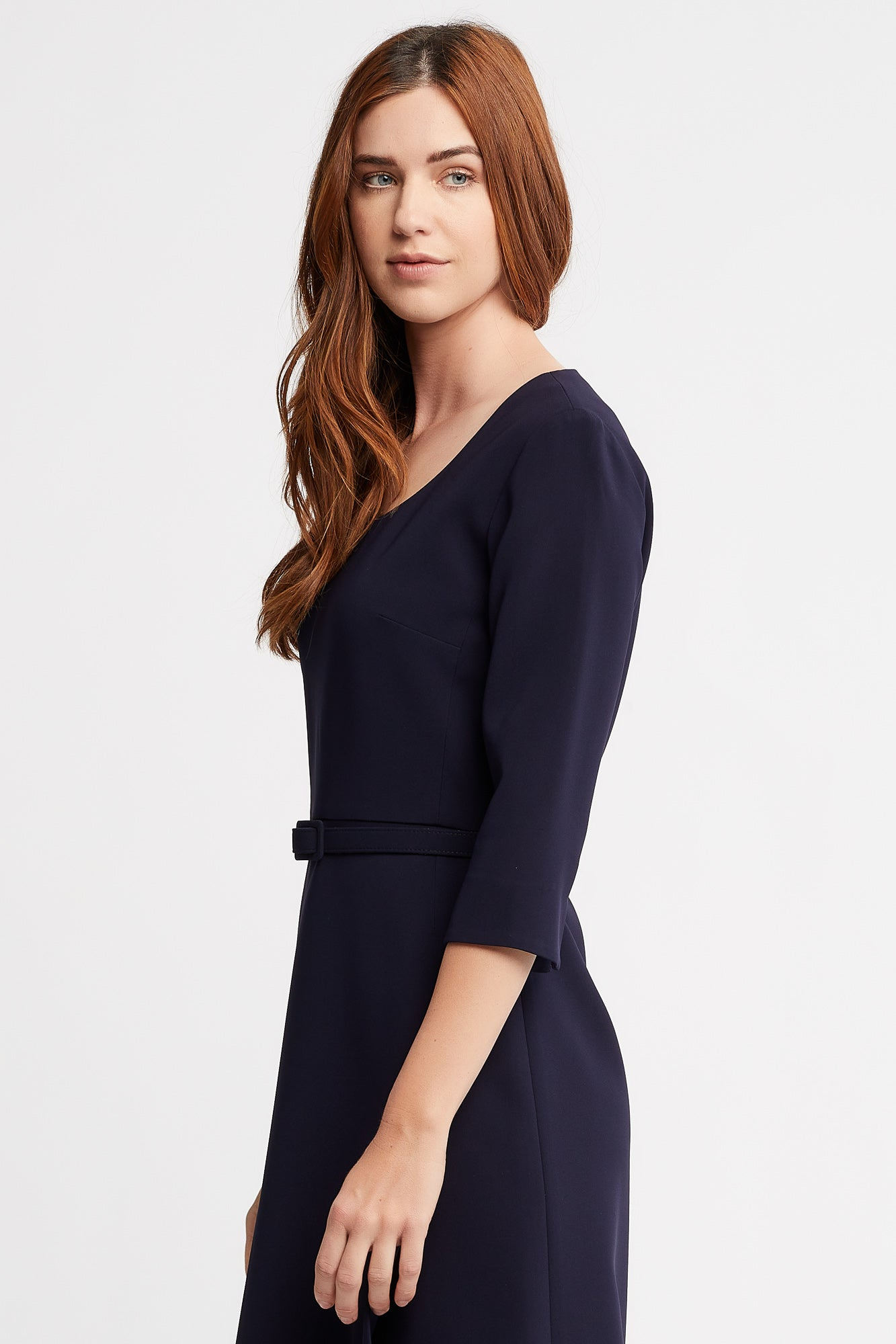 Josie 3/4 Sleeve A-Line Navy Work Dress With Matching Belt