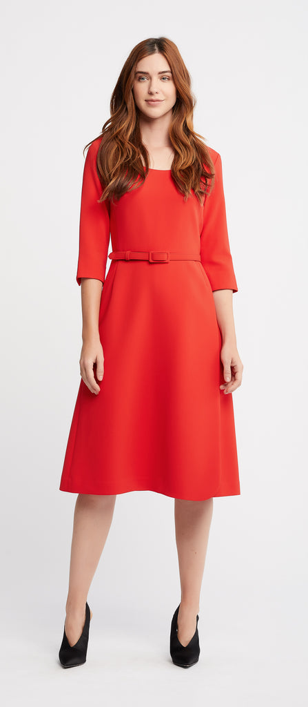 Josie 3/4 Sleeve A-Line Red Work Dress with Belt