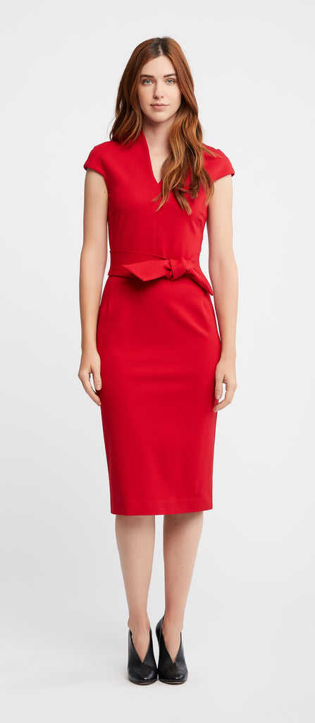 June Cap Sleeve Sheath Red Work and Cocktail Dress.
