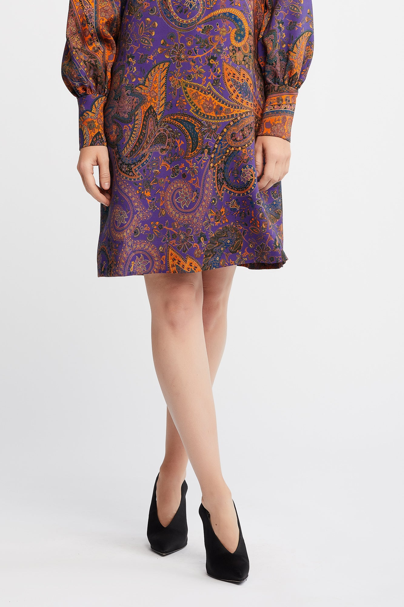 Kiki Long Sleeve Short Day dress, Work dress and Cocktail Dress in Paisley