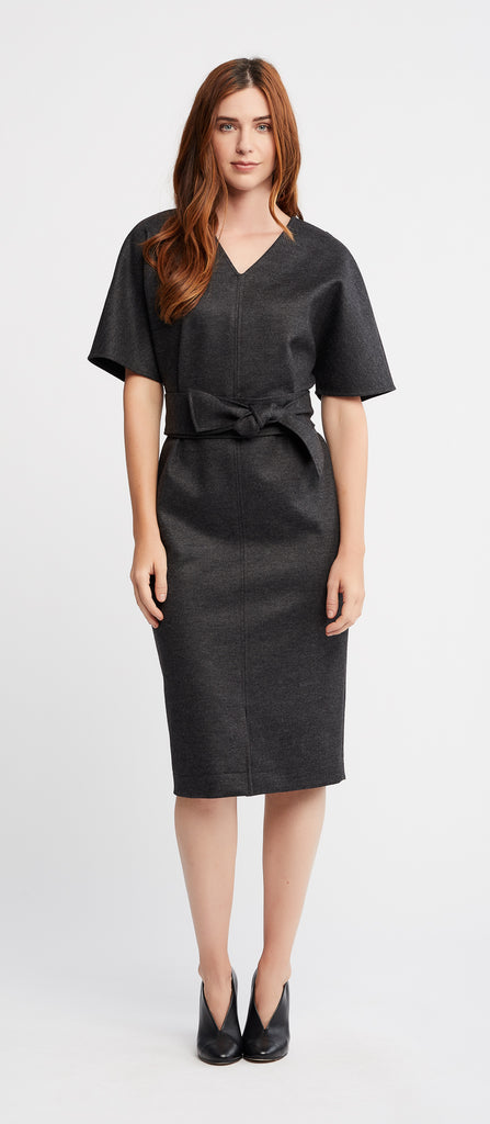 Rachel Short Sleeve Work and Cocktail Dress in Charcoal