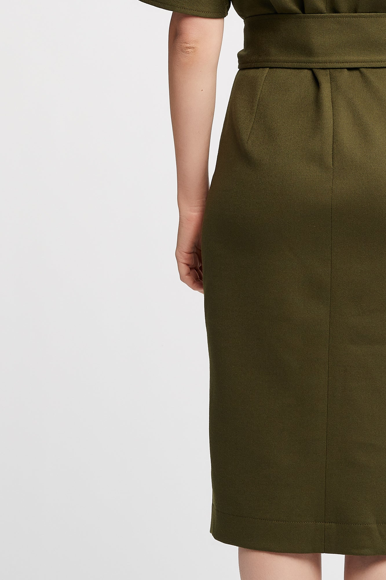 Rachel Short Sleeve Work and Cocktail Dress in Olive with Belt