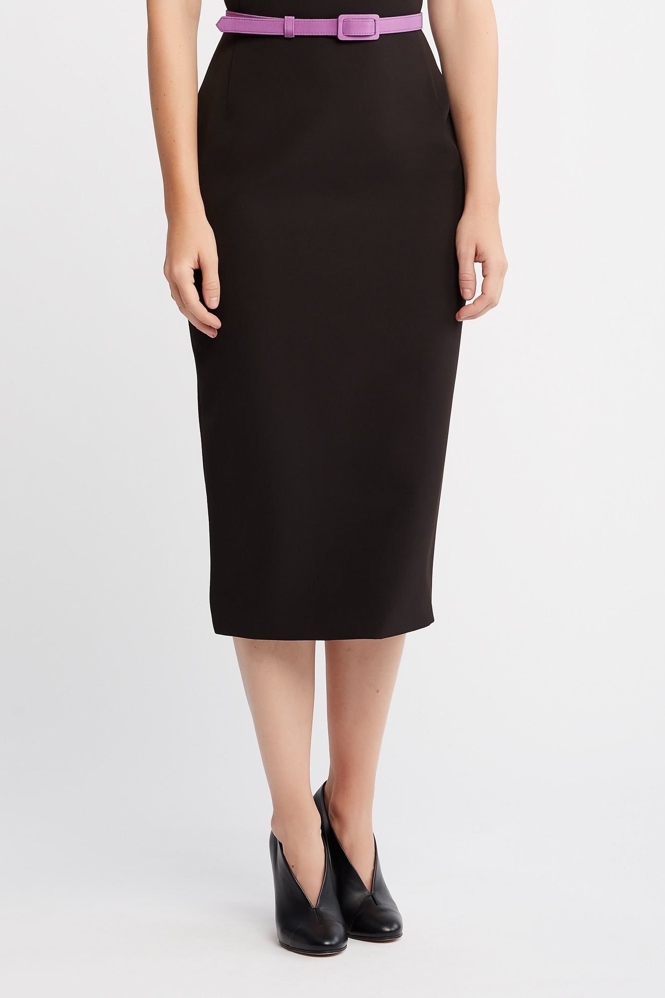 Rima short Sleeve Sheath Black Work Dress with Contrasting Silk Collar