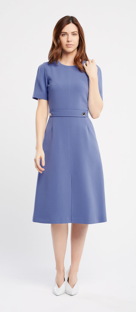 Rita Short Sleeve A-Line Blue Work Dress and Cocktail Dress | Rita Manche Court Ligne A Robe de Travail et Robe Cocktail