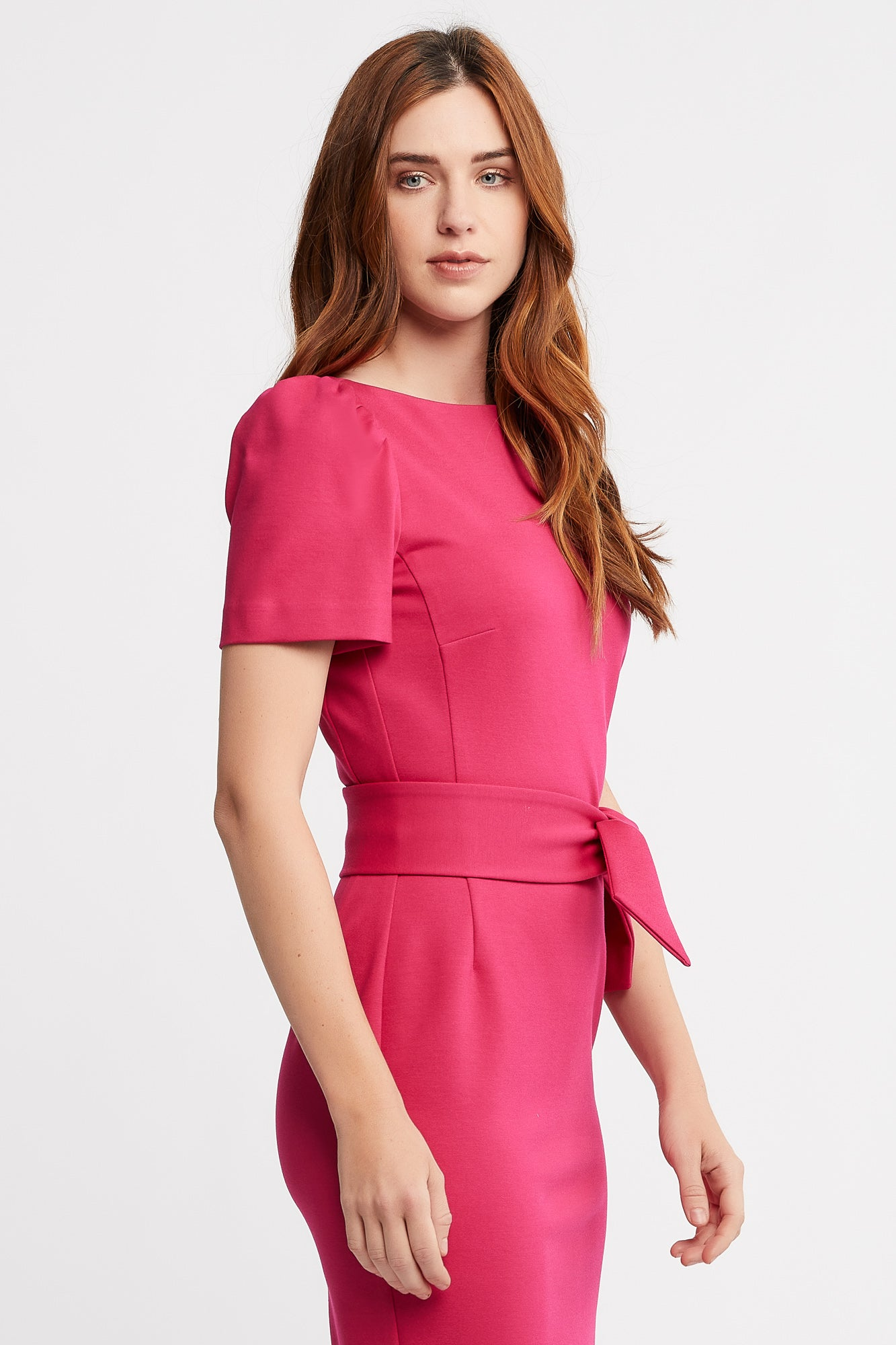 Ruth Short Sleeve Sheath Fuchsia Work and Cocktail  Dress with Belt