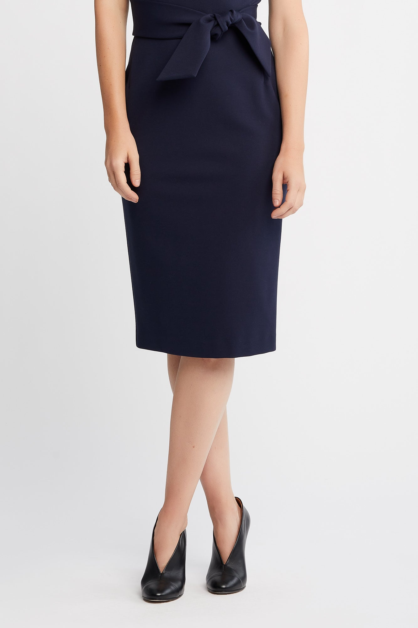 Ruth Short Sleeve Sheath Navy Work and Cocktail  Dress with Belt