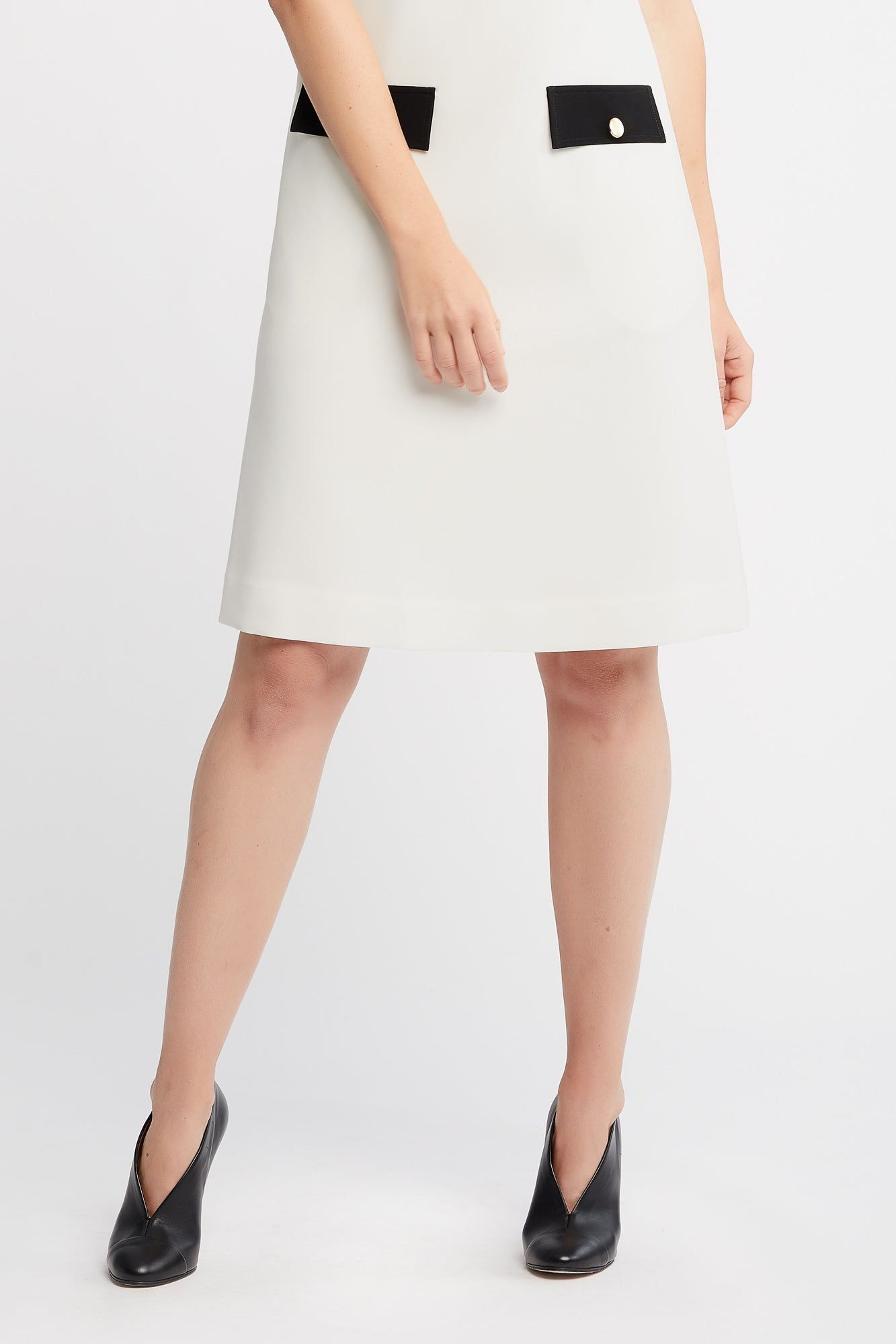 Tia Sleeveless A-line Work Dress in Off White with Collar