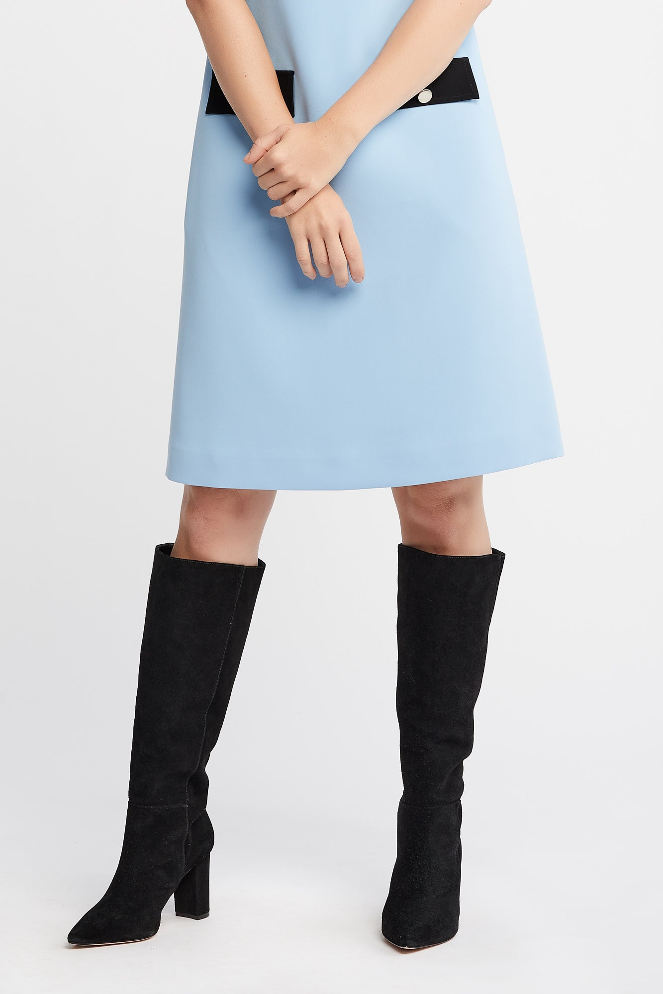 Tia Sleeveless A-line Work Dress in Baby Blue with Collar