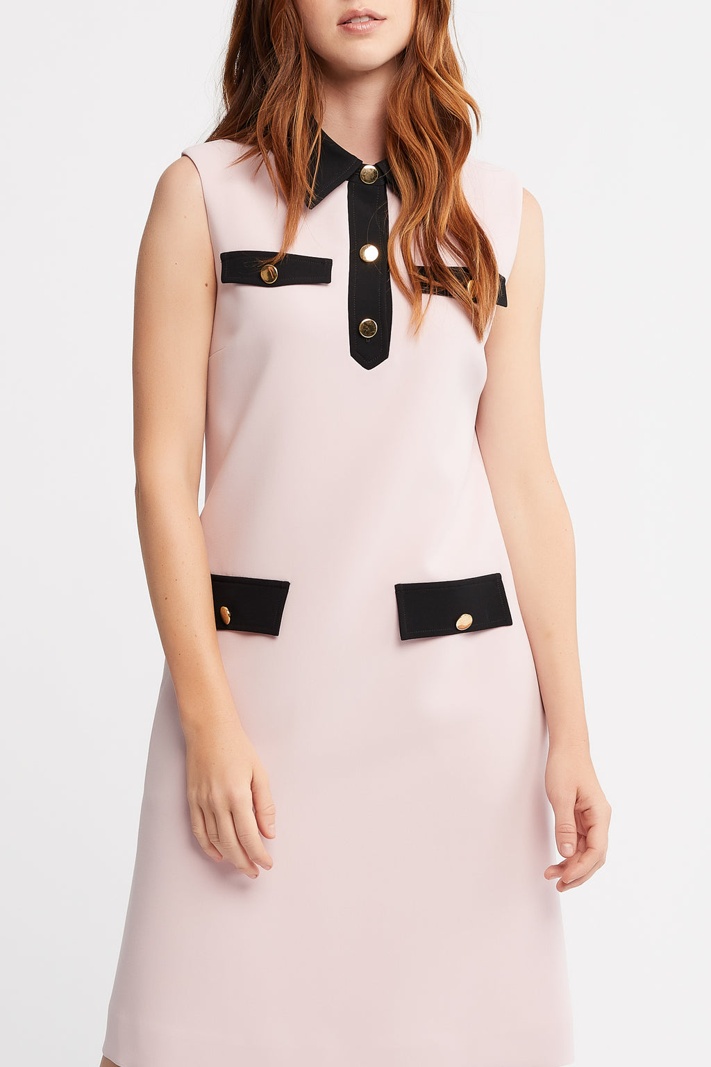 Tia Sleeveless A-line Work Dress in Baby Pink with Collar