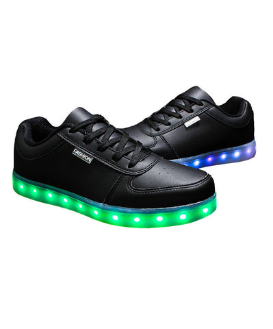 LED Black Fashion Shoes Low Top