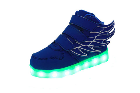 LED Blue (Kids) High Top w/ Wings